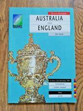More details for australia v england nov 1991 signed rugby world cup final programme