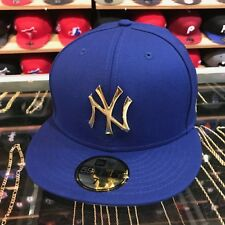 New Era New York Yankees Fitted Hat ROYAL/GOLD Metal Badge