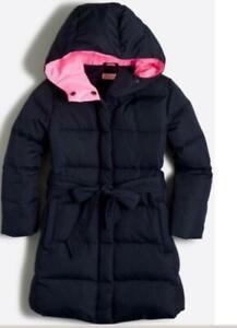 J Crew CREWCUTS Girls Puffer Coat Blue PInk Lining Size 12