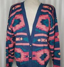 Vintage Nuovo Womens Sz M Cardigan Sweater Southwest Aztec Knit Button Up Blue