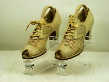 Vintage 1930s Original, Cream Ivory Leather Shoes, Oxfords, Anyone For Croquet