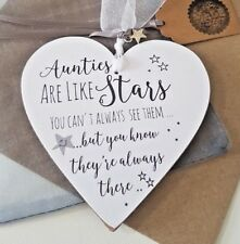 Aunties are like stars Heart Plaque Gift Personalised Auntie Bottle Tag Sign Rd