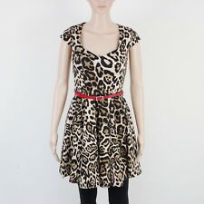 New Look Womens Size 6 Kelly Brook Brown Animal Print Dress