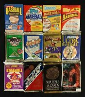 Lot - 12 Vintage Unopened Baseball Packs MLB Topps Fleer Donruss Leaf Upper Deck