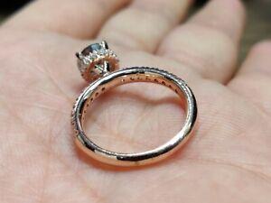 2.57 Ct Grey Moissanite Engagement Wedding Ring Solid 10K Rose Gold