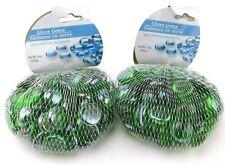 Greenbrier Round Flat Glass Gems Decorative Accents 14 oz. Green (Set of 2)