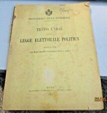 TESTO UNICO DELLA LEGGE ELETTORALE POLITICA - MINISTERO DELL'INTERNO - ROMA 1919