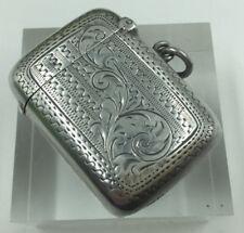 Antique Hallmarked Edwardian Rectangular Solid Silver Vesta Case Birmingham 1903