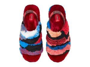 Women's Shoes UGG FLUFF YEAH SLIDE Slipper Sandals 1118164 RED CALI