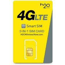 H2O WIRELESS TRI SIM CARD + PRELOADED WITH 30 DAYS OF UNLIMITED SERVICE (3GB)