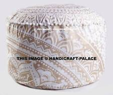 Bohemian Indian Mandala Ottoman Cover Traditional Vintage Indian Pouf Footstool
