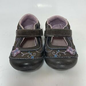 STRIDE RITE NANCY DRESS SHOES MARY JANES size 4.5 W Brown BUTTERFLIES LEATHER