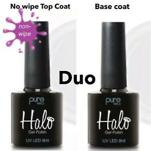 Halo Gel Polish - Base Coat & Non Wipe Top Coat Duo   UV LED (2 X 8ml Bottles)