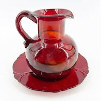 VTG Hand Blown Ruby Red Yellow Reverse Thumbprint Creamer Pitcher w/ Underplate