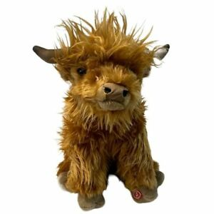 """Highland Cow Large with sound toy 10""""/25cm stuffed animal by Living Nature NEW"""