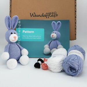 Beginner crochet kit, bunny rabbit, learn to crochet set