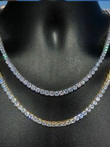 5mm Mens Tennis Chain SOLID 925 Sterling Silver Single Row Diamond Necklace Iced