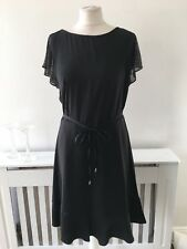 Oasis Black Oversized Skater Frock Dress Spakly Flutter Sleeves Sz 12