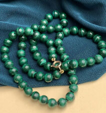 Old Hand Carved Malachite Stone 9K 375 Gold Beaded Necklace 30g Vintage