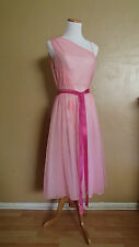 VTG Vanity Fair Pink Asymmetrical Off Shoulder Sheer Lingerie Nightgown BEAUTY