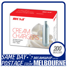SAME DAY POSTAGE MOSA CREAM BULBS 10 PACK X 20 (200 CHARGERS) WHIPPED