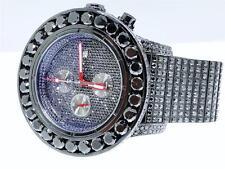 Mens Breitling Super Avenger Aeromarine 58 MM Black Genuine Diamond Watch 66 Ct