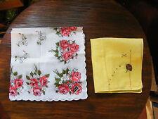 Collectible Ladies Handkerchief Set 2 Original Labels Print Hand Embroidred NICE