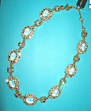 J.Crew New With Tag Crystal Whit Faux Gold and Diamond Necklace Color:Gold