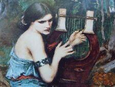 "Pre-Raphaelite THE CHARMER art print LYRE music girl J. W. Waterhouse 7"" x 5"""