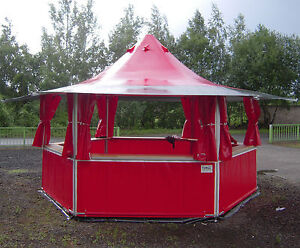 Verkaufsstand Grill Imbiss Bewirtung Zelt 10,5 m² / 6eck / Rundumtheke