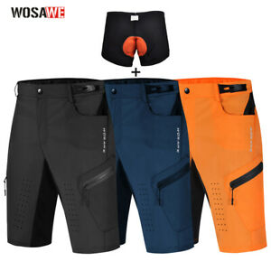 Men's MTB Mountain Bike Cycling Shorts Zipper Pockets Padded Bicycle Short Pants
