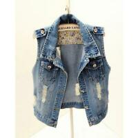 Women Denim Waistcoat Gilet Vest Jeans Fade Fitted Lapel Sleeveless Jacket 6xL