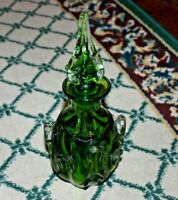 Green Art Glass Decanter Thick Applied Designs Heavy Glass Decanter