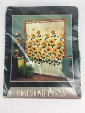 Yellow Sunflower Butterfly Shower Curtain Waterproof Art Bathroom Shower Curtain