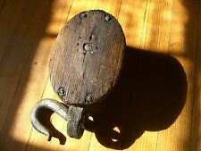 Antique Double Rope Block & Tackle Pulley Roller c.1900