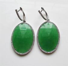 Large Oval Faceted Green Sapphire Sterling Silver & CZ Drop Dangle Earrings