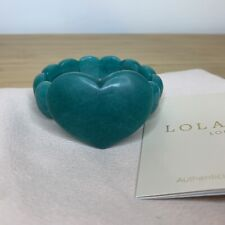 Lola Rose Semi Precious Heart Bracelet in Teal Green Agate Stretch with Pouch