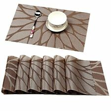 HEBE Placemats Set Of 6 Unique Durable Kitchen Table Mats Woven Vinyl Dining Bar