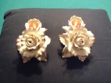 2005 Avon Winter Rose Bone China Gold Trimmed Candle Holders