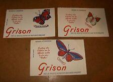 3 buvards - GRISON série Papillon - années 50 - PAON DE JOUR + IXIAS + PRIAM