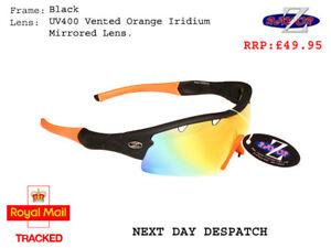 RayZor Black Sports Wrap Sunglasses Uv400 Vented Orange Mirror Lens (220