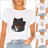 Womens Tops Cat Printed Girls Short Sleeve T Shirt Funny Tops Street Wear 2020