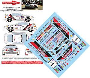 Decals 1/43 Ref 0093 Toyota Celica Auriol Tour Auto Reunion 1996 Rally