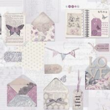 3 X Arthouse PS I Love You Lilac Wallpaper Scrapbook Buttons Butterfly 671201