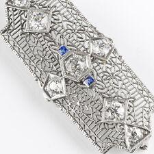 Stunning Edwardian 14K & Platinum Diamond 1.75ctw Sapphire Pin Pendant  EP830A