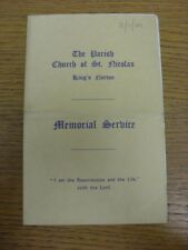 02/11/1949 Order Of Service Programme: Memorial Service [At Parish Church Of St
