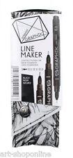 Derwent Graphik línea Maker Pack De 3 marcador negro bolígrafos