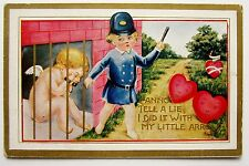 CUPID in Jail Police Hearts w/ Faces Fantasy VALENTINE Postcard EMB Gold