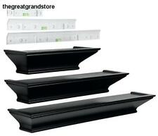 Wall Mount Shelves Black 3 Pc Mantel Floating Contemporary Shelf Home Decor Wood