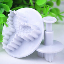 2pcs Xmas Holly Leaf Fondant Icing Plunger Cookie Cutter Mold Cake Decor Tools